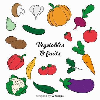 Fondo de verduras y frutas dibujado a mano