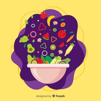 Fondo de verduras y frutas en diseño plano