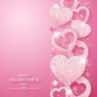 Fondo vertical del día de san valentín con brillantes corazones rosas y confeti
