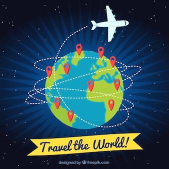 Fondo de viajar con avión y pins