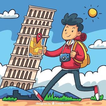 Fondo de viajar con hombre y torre de pisa