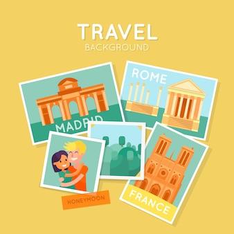 Fondo de viajar con polaroids