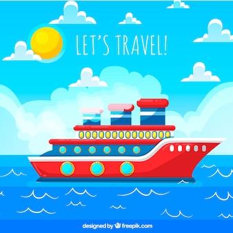 Fondo de viaje con barco