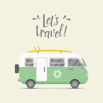Fondo de viaje con caravana remolque