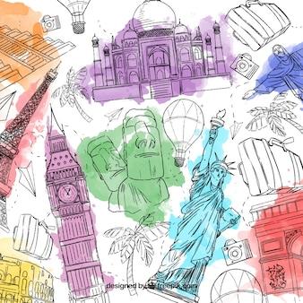 Fondo de viaje creativo dibujado a mano