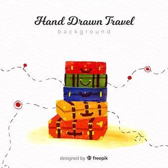 Fondo de viaje dibujado a mano
