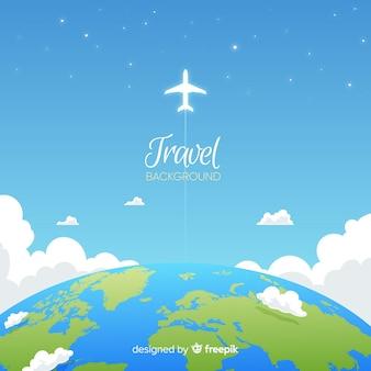 Fondo de viaje en diseño plano