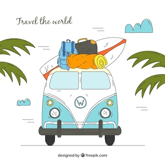 Fondo de viaje en estilo hecho a mano