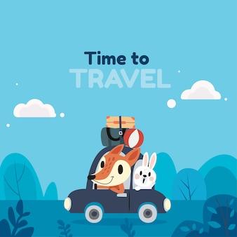 Fondo de viaje en estilo plano con linda ilustración