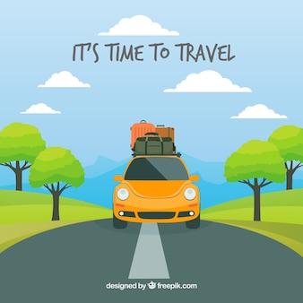 Fondo de viaje en estilo plano