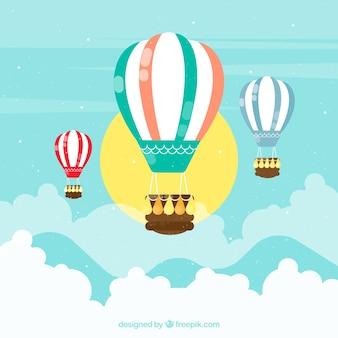 Fondo de viaje de globo aerostático