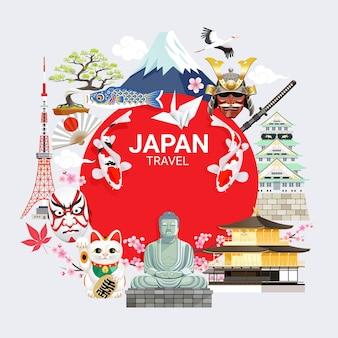 Fondo de viaje de monumentos famosos de japón con torre de tokio