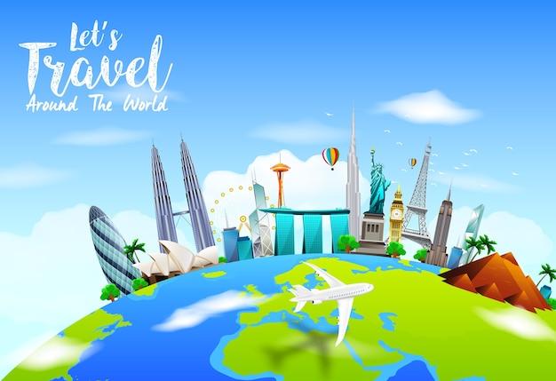 Fondo de viaje con monumentos mundialmente famosos en la tierra