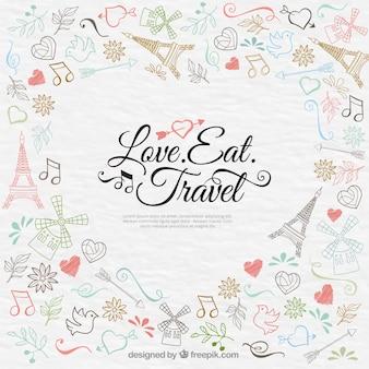 Fondo de viaje a parís romántico