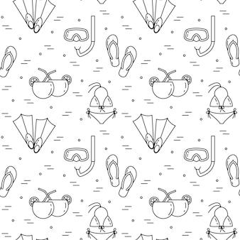 Fondo de viaje sin patrón, con traje de baño, aletas, cóctel, máscara de buceo. línea plana de arte. ilustracion vectorial concepto de viaje, turismo, agencia de viajes, papel tapiz del sitio web de hoteles.