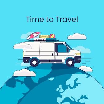 Fondo de viaje con van en tierra