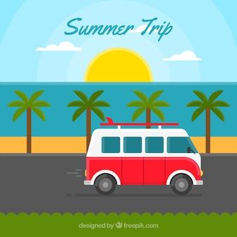 Fondo de viaje de verano con una caravana vintage