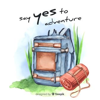 Fondo de viajes acuarela con cita de motivación