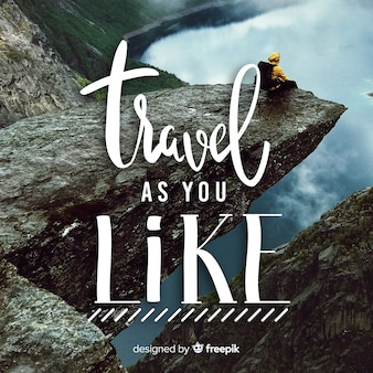 Fondo de viajes con caligrafía y foto