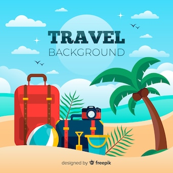 Fondo viajes equipaje en la playa