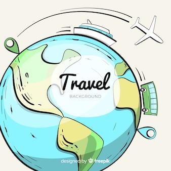 Fondo viajes globo terráqueo dibujado a mano