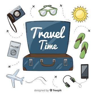 Fondo viajes maleta dibujada a mano