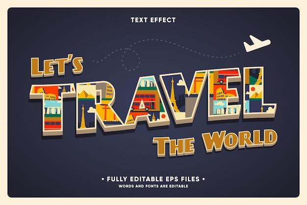 Fondo de viajes de vacaciones con efecto de texto