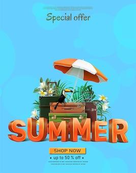 Fondo de viajes de verano con playa y equipaje en azul