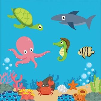 Fondo de vida marina a color
