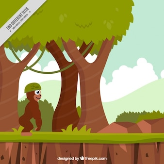 Fondo de videojuego de plataforma de gorila en la jungla