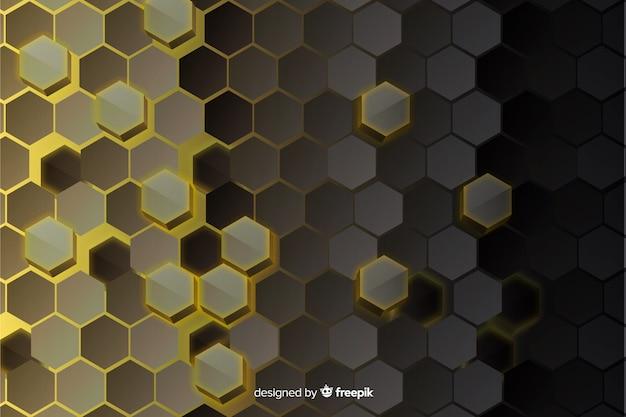 Fondo de vidrio abstracto de tecnología hexagonal