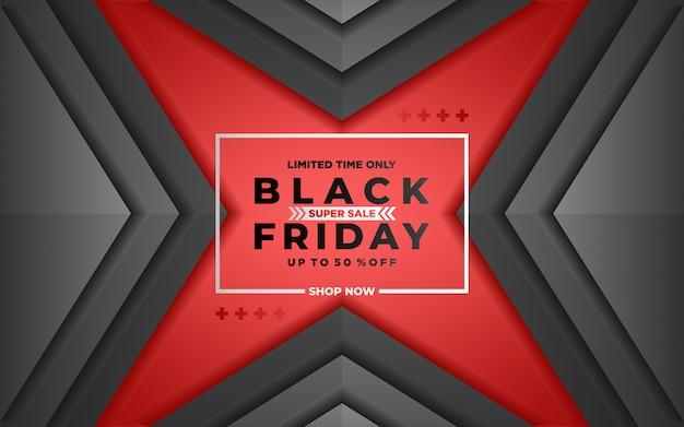 Fondo de viernes negro con estilo de corte de papel