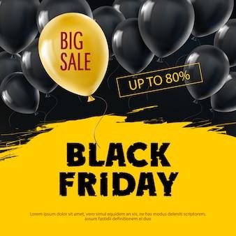 Fondo de viernes negro con globos realistas de vuelo.