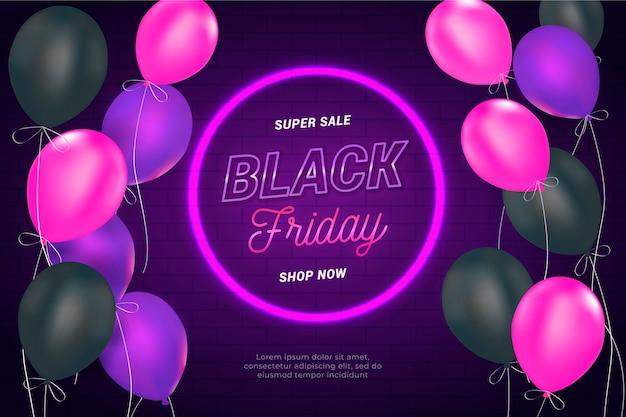 Fondo de viernes negro con globos realistas