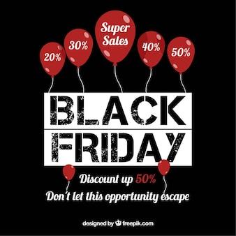 Fondo de viernes negro con globos rojos