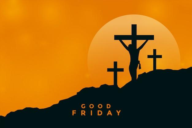 Fondo de viernes santo con escena de crucifixión de jesucristo