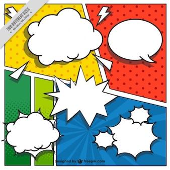 Fondo de viñetas de comic en estilo pop art con bocadillos de diálogo