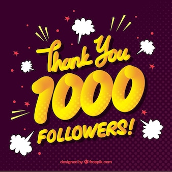 Fondo vintage de 1000 seguidores