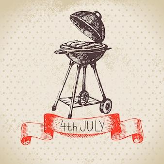Fondo vintage del 4 de julio. diseño de boceto dibujado a mano del día de la independencia de américa
