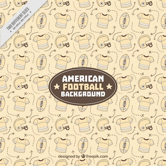 Fondo vintage con accesorios de fútbol americano dibujados a mano