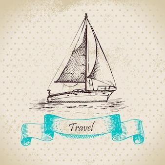 Fondo vintage con barco. ilustración dibujada a mano