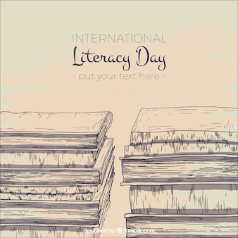 Fondo vintage de bocetos de libros para el día de la alfabetización