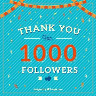 Fondo vintage de celebración de 1k de seguidores