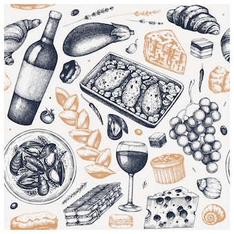 Fondo vintage de comida francesa. bocetos dibujados a mano de vino, bocadillos, platos de carne y postres. fondo de menú de restaurante de estilo retro