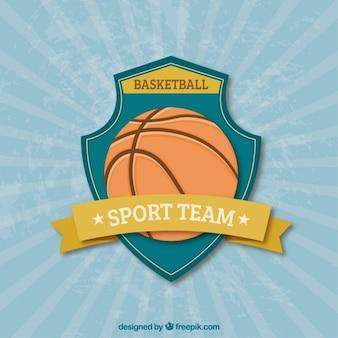 Fondo vintage con escudo de baloncesto