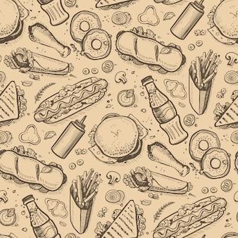Fondo vintage dibujado a mano de comida rápida