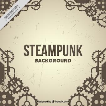Fondo vintage de engranajes en estilo steampunk