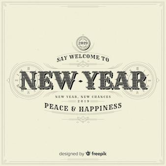 Fondo vintage de feliz año nuevo 2019
