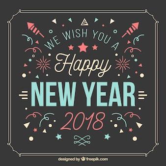 Fondo vintage de feliz año nuevo con confeti y fuegos artificiales