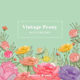 Fondo vintage de flores peonía